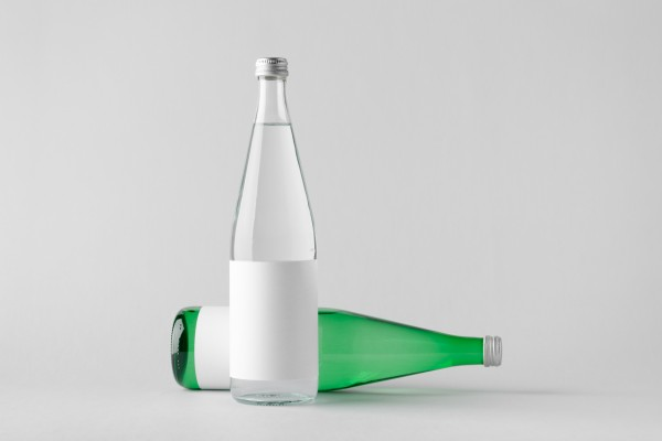Water Bottle Mock-Up - Two Bottles. Blank Label